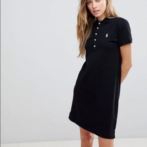 Ralph Lauren Black Cotton Polo Dress w/ Blue Logo